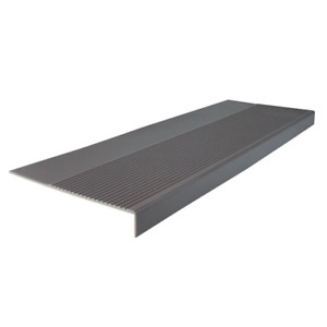 Light Duty Ribbed Design Charcoal 12-1/4 in. x 48 in. Rubber Square Nose Stair T