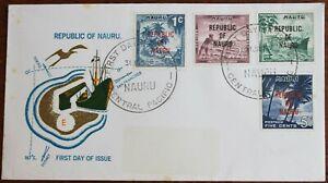 Nauru – 1968 Overprint Set – Short Set on FDC (Se9)