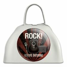 Rock Before Entering and Roll Music Guitar White Cowbell Cow Bell Instrument