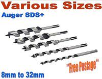 Auger SDS+ wood drill bits 205mm long - joiner fast cut 8mm to 32mm hex shank