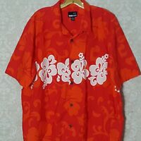 Hawaiian Hibiscus Shirt GOTCHA Aloha Tropical Floral Orange Red Cotton Large