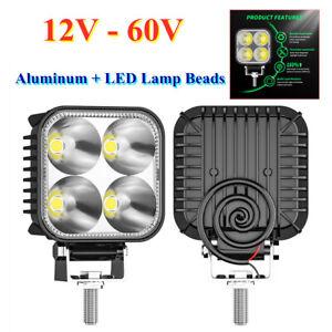 """2*Car 3"""" DRL Work Light Spot Flood Light Bar Reverse 4LED Lamp Beads 12W 12V-60V"""