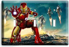 IRONMAN SUPERHERO TRIPLE LIGHT SWITCH WALL PLATE COVER BOYS BEDROOM ART IRON MAN