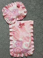 Handmade Beautiful Dolls cot / pram cotton quilt and pillow Floral
