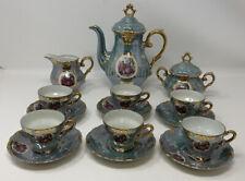 Vintage Royal Sealy Japan Iridescent Lustre Ware Portrait Ladies Tea Set Blue