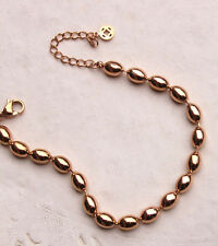 Women Girl Simple Style 18K Rose Gold Filled 6MM Oval Ball Beads Solid Bracelet