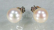9MM AAA WHITE AKOYA ROUND PEARLS EARRING 14K GOLD