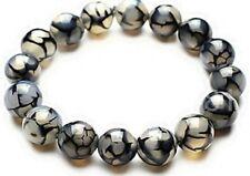 Natural 10MM Black Dragon Veins Agate Round Gemstone Stretchy Bangle Bracelet