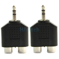 2X 3.5MM STEREO PLUG AUDIO JACK OUT PLUG MALE TO 2 RCA FEMALE SPLITTER ADAPTER