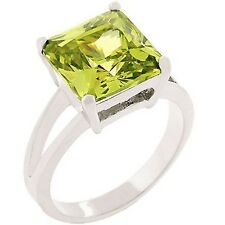 Silver Peridot Cocktail Ring Size 10 Green CZ Princess Cut Simulated Plated