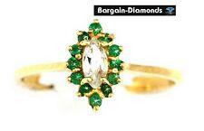 green emerald white zircon 1.89 carat 10K gold ring birthstone marquise