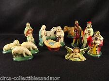 Nativity Creche Christmas Set 13 Pieces Hard Rubber Mary Joseph Baby Jesus Kings