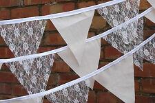 Calico & Ivory Lace Handmade Fabric Bunting No Gaps 1m - 3.2 ft  Weddings Shabby
