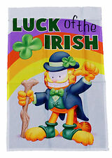 "$15.99 SALE~GARFIELD LUCK OF THE IRISH ST. PATRICK'S DAY MINI FLAG 12""x18""~NEW"