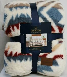 "*NEW* Pendleton Sherpa Fleece White Sand Multi Color Queen Blanket (98""x92"")"