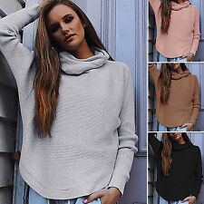 AU Women Long Sleeve Turtle Neck Loose Knitted Sweater Ladies Casual Jumper Tops