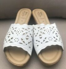 Spring Step White Leather  Laser Cut Wedge Cork Sandals 40/9