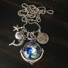 NAUTICAL BEACH BOAT ANCHOR SEA SHELL STARFISH MERMAID CHARM PENDANT NECKLACE
