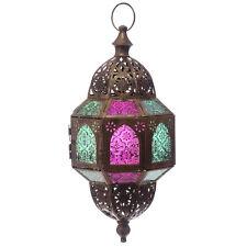 X Large Hanging Coloured Glass Moroccan Lantern Tea Light Candle Holder Decor