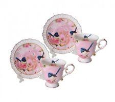 Elegant Kitchen Tea Cups and Saucers Set of 2 PINK BLUE WREN
