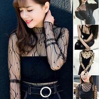 Women Sexy Lace Hollow Mesh Net Fashion Long Sleeve Blouse T-Shirt Tank Crop Top