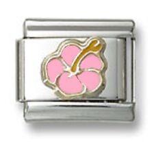 18K Italian Charm Hibiscus Flower Pink Enamel 9 mm Stainless Steel Modular Link