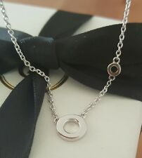 "18ct 18k Solid White Gold Double Circle Pendant Necklace by CTJ on 18"" Chain"