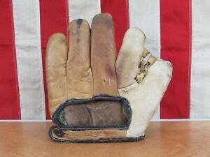 Vintage 1920s Baseball Glove 2-Tone Leather Fielders Mitt Antique Double Tunnel