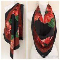"Designer MARCO CORSARI Women Scarf Red Floral Green Black Square 29 3/4"""