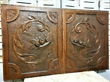 Pair scroll leaves cornucopia panel Antique french oak architectural salvage