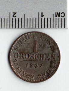German States Coins 1847 Groschen Ernst II Silver Thaler & 1835 PFENNIGE Copper