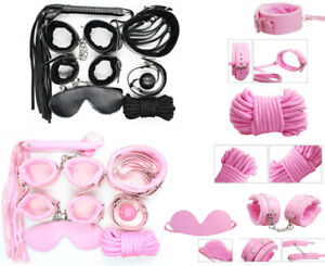 7 Pcs Bondage Set Adult Sex Toy SM Hand Ankle Cuffs Whip Gag Rope Neck Sexy Kit