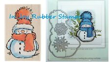 Penny Black SNOWY Cute Snowman Stamp Frosty's Snow, Family Die Set Winter Cards
