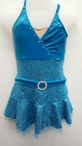 Dance Costume Large Child Turquoise Sequin Art Stone Jazz Tap Clogging Solo