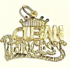 14k Yellow Gold Diamond Cut Cuban Princess Charm Pendant