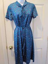 Womens Dress Medium Vintage Hand Made Mod Vintage Short Sleeve Blue