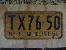 1951 NEW YORK LICENSE PLATE  # TX76-50