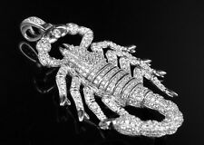 "Mens White Gold Finish .925 Sliver Lab Diamond Scorpion Horoscope Pendant 2"""