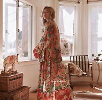 Lady BOHO Robe Loose Kimono Sleeve Summer Floral Maxi Beach Holiday Casual Dress