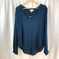 NWT Anthropologie Cloth & Stone Blouse Top V-neck Navy Blue Long Sleeve Size S