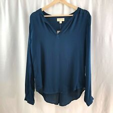 b3759b9ce120 NWT Anthropologie Cloth & Stone Blouse Top V-neck Navy Blue Long Sleeve  Size S