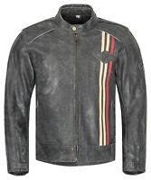Herren Motorradjacke XLS Classic Urban Motorrad Lederjacke Retro schwarz