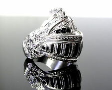 Men's  Silver  Medieval Knight Helmet Ring With Black Diamonds By Sacred Angels