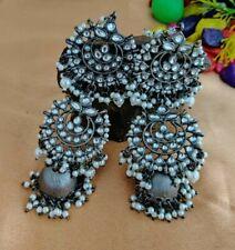 Bollywood antique Silver Gray Earrings Women Bridal Jhumka Jewelry Pearl Kundan