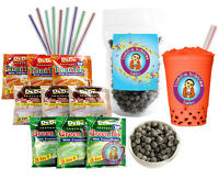 DeDe Instant Boba Tea Kit 9 Drink Packets, Straws & Boba Thai, Milk & Green Tea