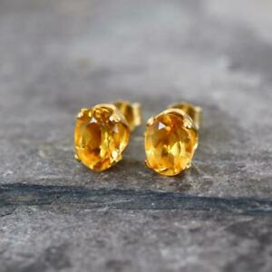 Citrine 14k Gold Filled 8 x 6mm Oval Stud Earrings Gift Boxed gift for Her