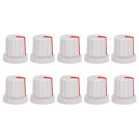 10Pcs 6mm Knob for Effect Pedal Amplifier White Potentiometer Knob Red Mark