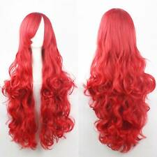 Womens 80CM Full Long Fancy Wigs Curly COSPLAY Ladies/Kids Red Wig Party