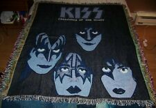 NEW NOS Vintage KISS CREATURES OF THE NIGHT Woven Throw Blanket Tapestry Afghan