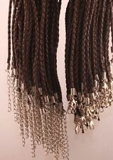 """Lot of (12) 18"""" Weaved (Dark Brown) Leather Rope Necklace"""